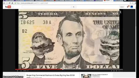 King And Of Illuminati by Burger King 5 Dollar Bill Commercial Illuminati Freemason