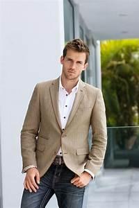 Menu0026#39;s Tan Blazer White Long Sleeve Shirt Charcoal Jeans Brown Leather Belt   Tan blazer ...