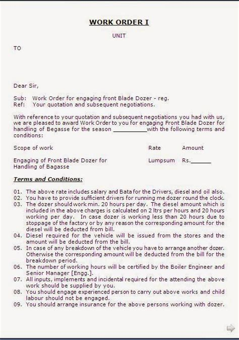 work order letter format  labour contractor