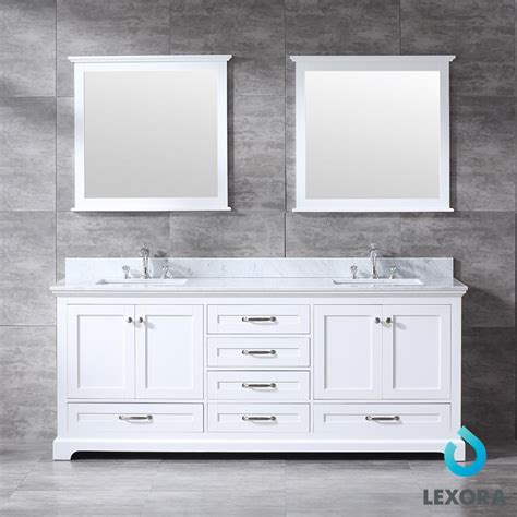 dukes double bathroom vanity white color  mirror