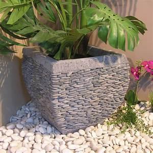 Jardinière En Hauteur : pot de jardin en galet de rivi re galb naturel h 50 cm ~ Nature-et-papiers.com Idées de Décoration