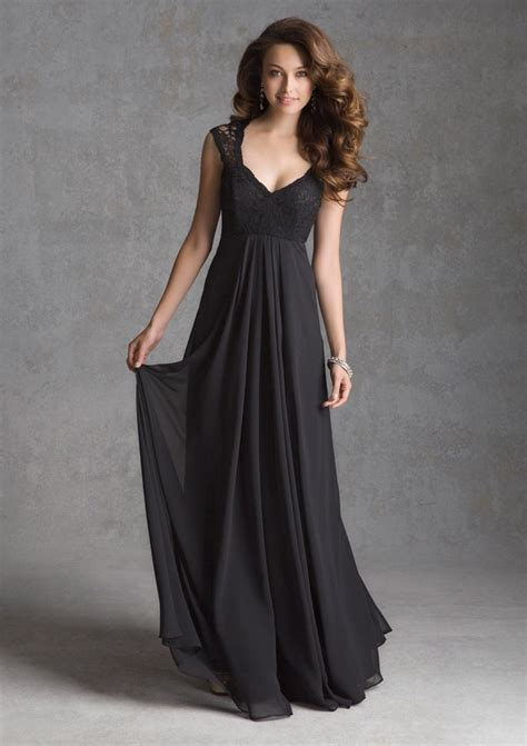 Lace Cap Sleeve Bridesmaid Dresses Floor Length by Black Lace Detail Sheer Cap Sleeves V Neck Empire Waist