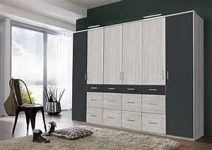 Armoire 6 Portes : armoire 6 portes 12 tiroirs click 2 chene blanc gris ~ Teatrodelosmanantiales.com Idées de Décoration
