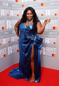 lizzo is a snack in stunning chocolate bar dress at 2020