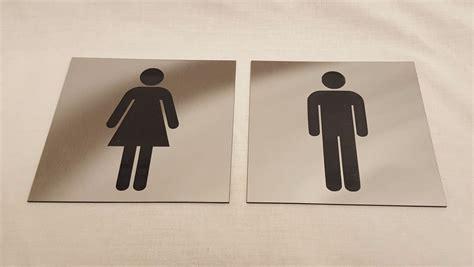 brushed steel acrylic toilet door signs male  female