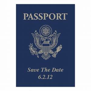 Passport save the date business card zazzle for Save the date passport template