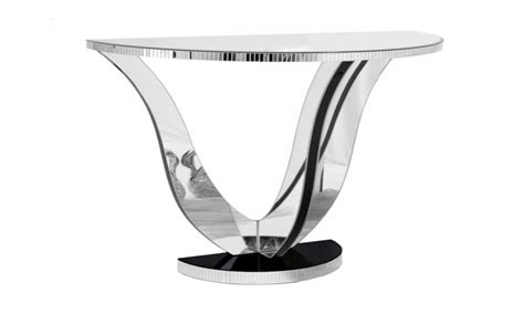 small glass console tables  moon mirrored console
