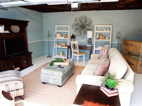 garage transformation ideas small garage makeover to living space with white fabric sofa with pillow gray ottoman dark brown