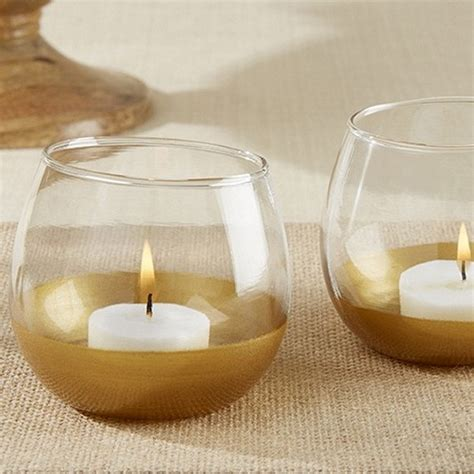 Gold Glass Candle Holders by Gold Dipped Wine Glass Tealight Votive Candle Holder