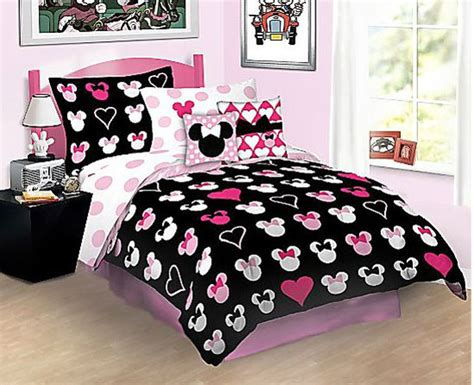 new 3pc minnie mouse reversible full comforter set