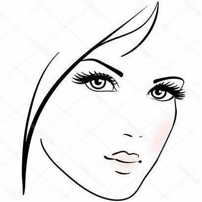 Face Drawing Woman Simple Vector Womans Female