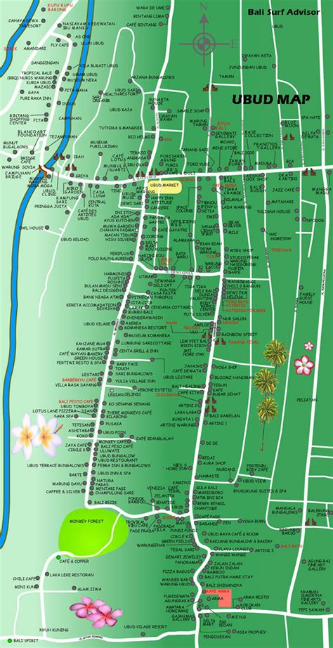 ubud map detail maps bali indonesia