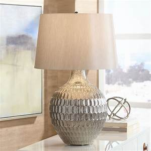 Possini, Euro, Design, Modern, Table, Lamp, Silver, Textured, Glass, Gray, Tapered, Drum, Shade, For, Living