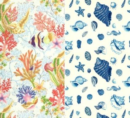 fabrics  seashell  beach  nautical coastal