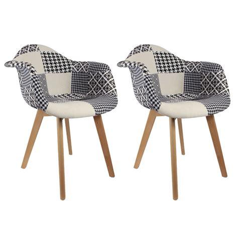 lot de 2 fauteuils design scandinave patchwork noir et blanc