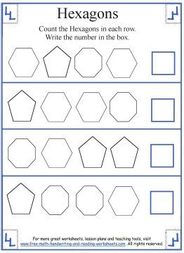 hexagon shape worksheets