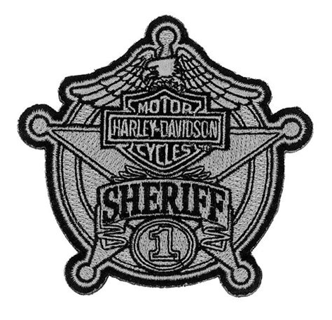 harley davidson patches harley davidson sheriff silver patch small 3 15 16 w x 3 3 4 h em1264752