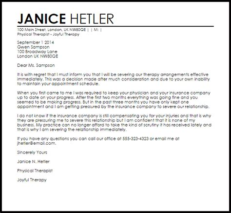 therapy termination letter  letter samples
