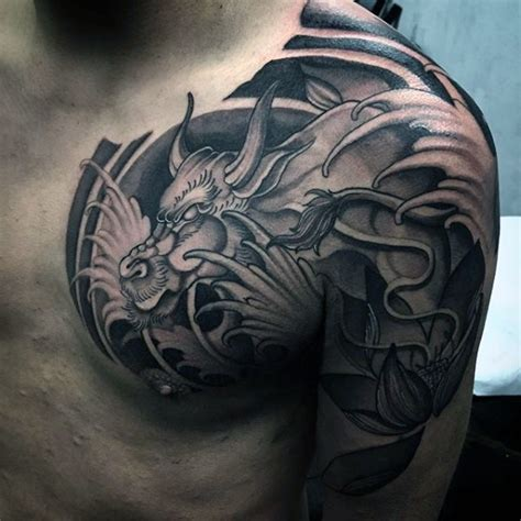 japanese traditional black ink shoulder  chest tattoo