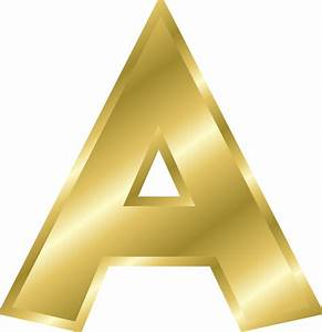 Onlinelabels clip art effect letters alphabet gold for Gold letter a