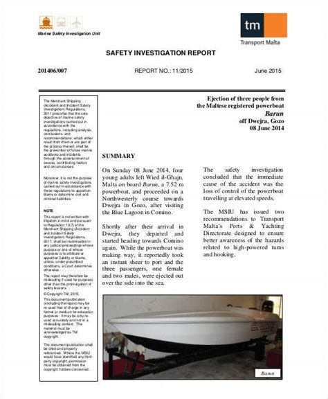 safety report templates   word  apple pages