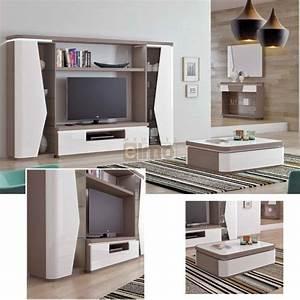 Meuble Salon Bois : ensemble salon meuble tv contemporain bois et laque ~ Teatrodelosmanantiales.com Idées de Décoration