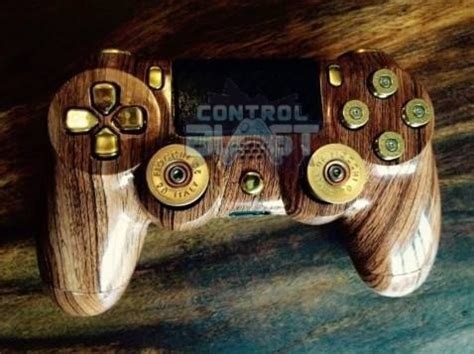 Wood Grain PS4 Custom Controller Shell with Gold Bullet