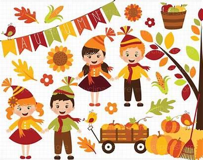 Harvest Clipart Autumn Fall Happy Vector Thehungryjpeg