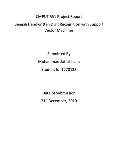 Project report - Bengali digit recongnition using SVM