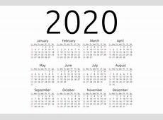 Vector calendar 2020, Sunday ~ Stationery Templates