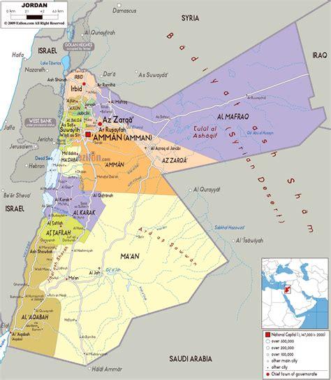 large political  administrative map  jordan