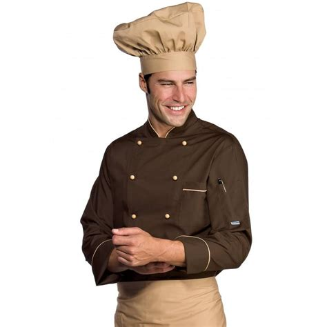 veste de cuisine homme veste chef cuisinier manches longues extralight biscuit cacao