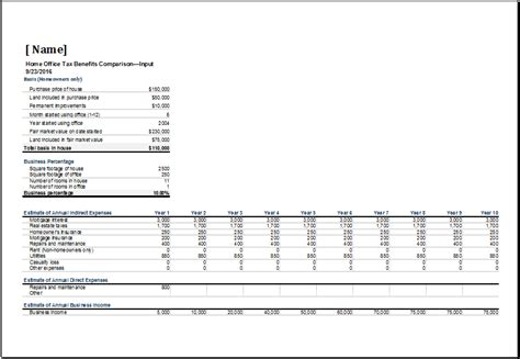 home office tax comparison benefits sheet excel templates