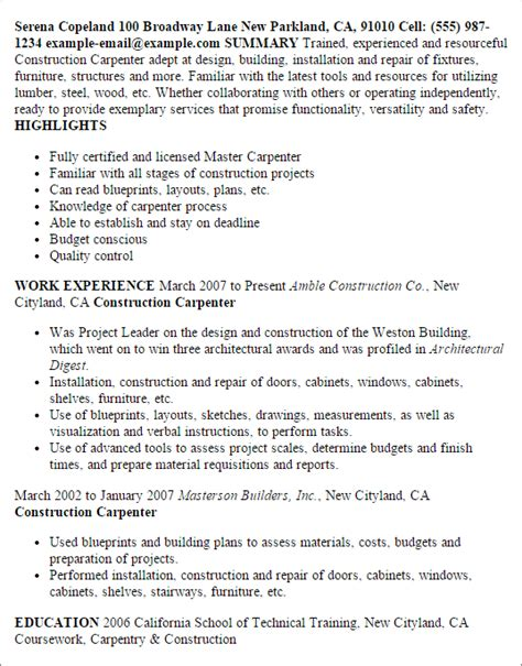construction carpenter my resume