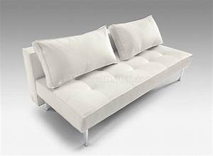 Black or white full leatherette modern convertible sofa bed for Contemporary convertible sofa bed