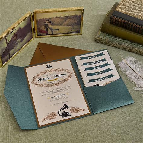 vintage jade and antique gold wedding pocket invitation