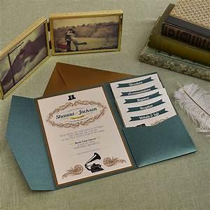 vintage jade and antique gold wedding pocket invitation With diy wedding invitations cards and pockets