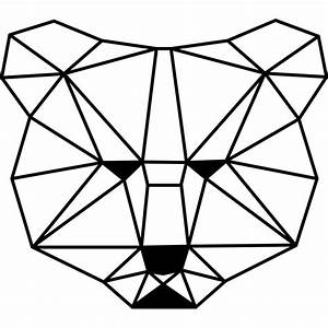 Sticker tête d'ours en forme géométrique