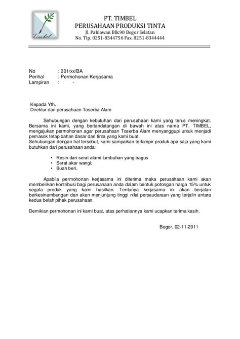 Contoh Surat Resmi Permintaan Barang by Contoh Surat Penawaran Contoh Sur