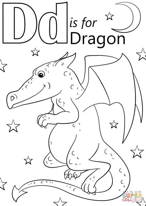 letter    dragon coloring page  printable
