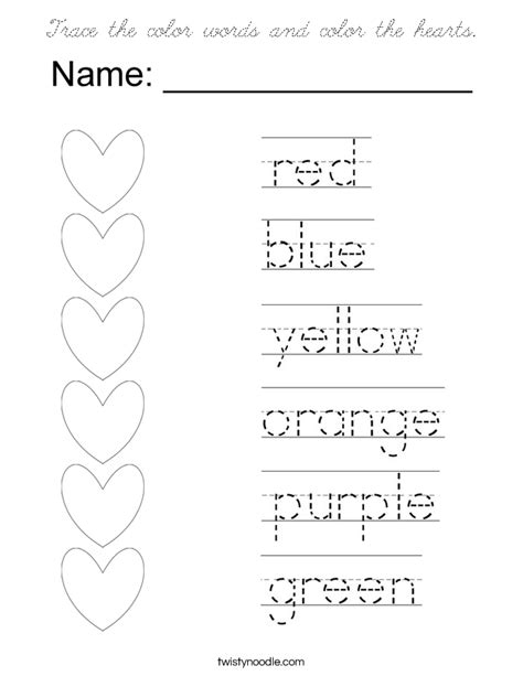 trace  color words  color  hearts coloring page