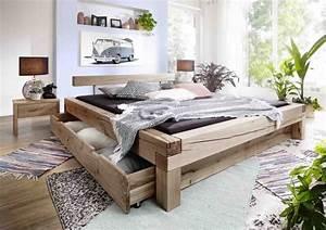 Bett 200x200 Günstig : balkenbett elias 200x200 cm balkenkopfteil wildeiche ~ Watch28wear.com Haus und Dekorationen