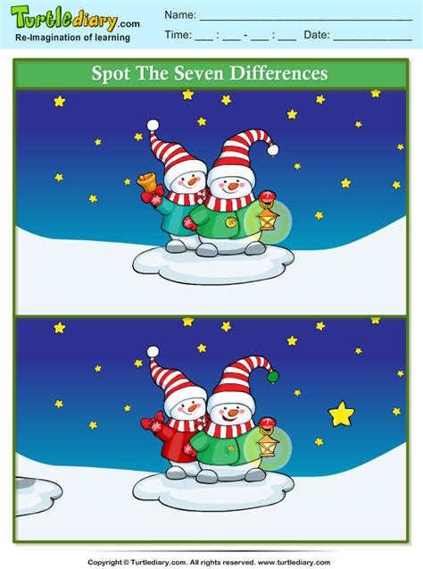spot  difference snowman  lamp worksheet turtle diary