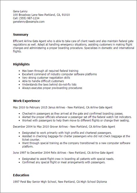 Airline Resume Template by Professional Airline Gate Templates To Showcase Your Talent Myperfectresume