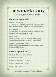 irish menu templates musthavemenus 95 found With irish menu templates