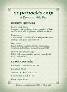 irish menu templates musthavemenus 95 found With irish menu templates