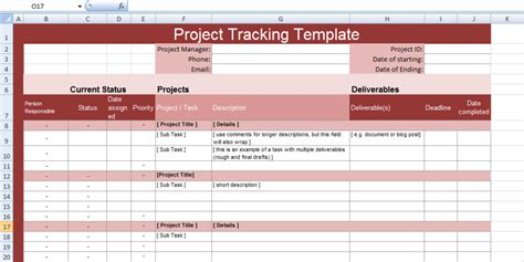 multiple project tracking templates  excel