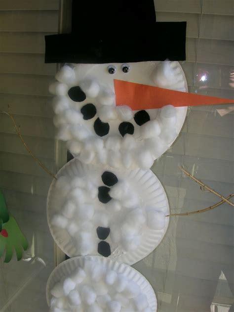 paper plates  cotton balls snowman christmas