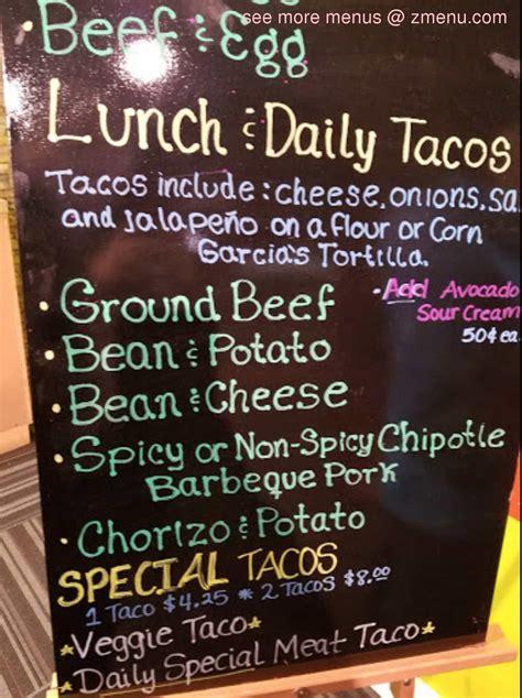 menu  garcias mexican resataurant restaurant