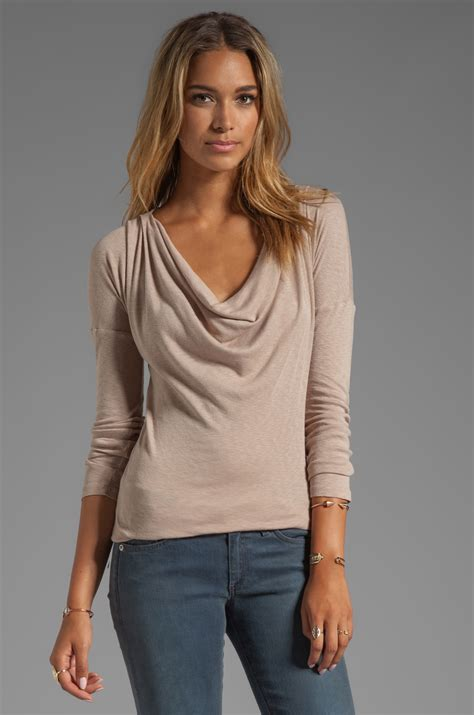 drape neck tops lyst michael sleeve drape neck top in brown